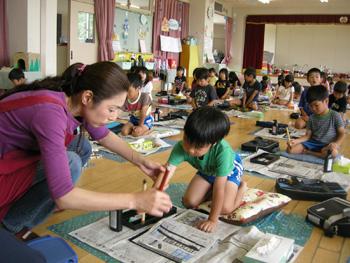 山口県防府市の幼稚園 玉祖幼稚園(たまのやようちえん)カリキュラム おけいこ 習字